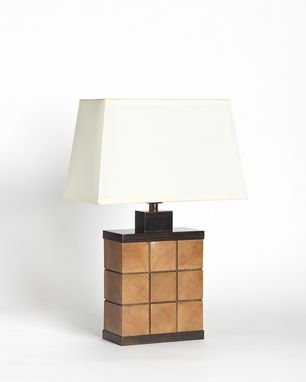 Custom Made Redwood And Walnut Table Lamp