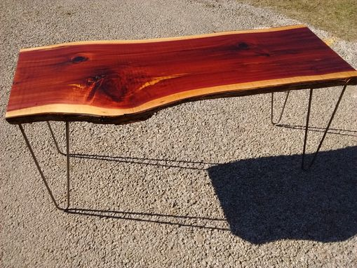 Custom Made Live Edge Furniture, Live Edge Cedar Coffee Table With Hairpin Legs