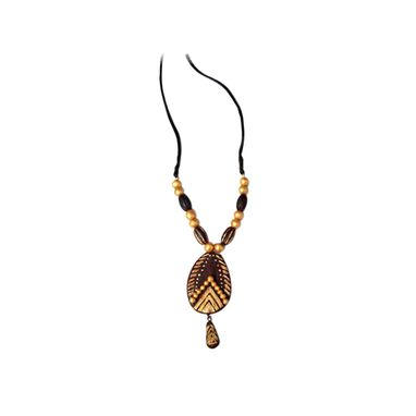 Custom Made Gold Bronze And Coffee Brown Color Terracotta Necklace
