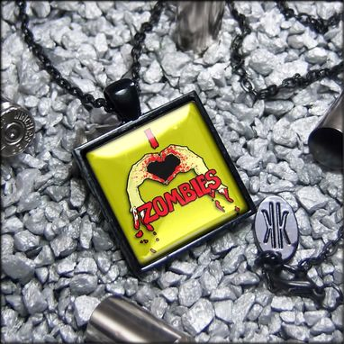 Custom Made I Love Zombies Limited Edition Black Pendant Necklace 103-Jbspn