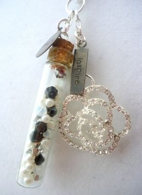 "Custom Made Swarovski Crystal Rose Pearl Glass Vial ""Create"" Necklace, ""Soul Verbs"""
