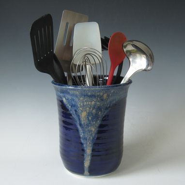 Custom Made Midnight Blue And Tan Kitchen Utensil Holder