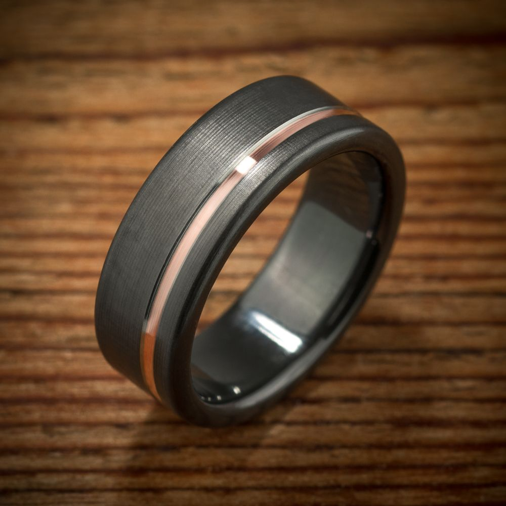custom made black zirconium rose gold wedding band - Mens Rose Gold Wedding Rings