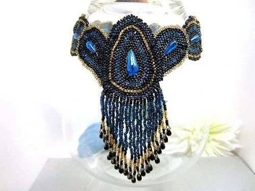 Custom Made Black Beadwoven Necklace Fringed Choker Peacock
