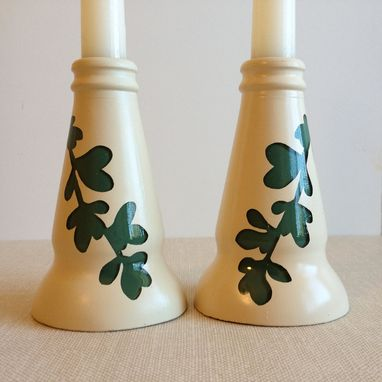 Custom Made Candle Stick Holders, Leafy Vines, Moss Green And Ivory, Set Of 2