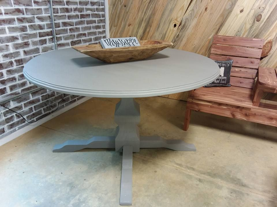 Custom Made Round Dining Table With Oversized Pedestal Base