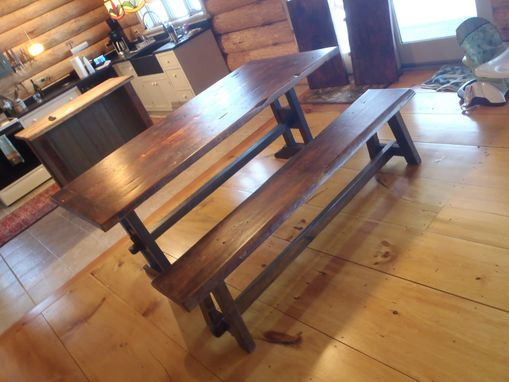 Custom Made Reclaimed Two Board Top Slab Top Trestle Table With Leaves With Custom Live Edge Bench