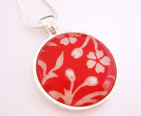Custom Made Glass Tile Pendant With Vines In Red Design