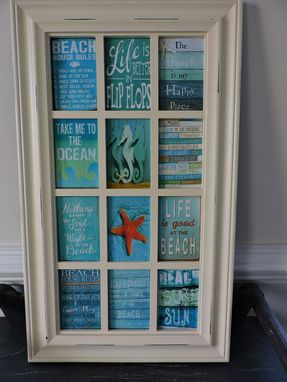 Custom Made Beach Theme Decoupage Glass Panel Wall Hanging