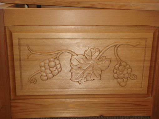Custom Made Wine Bottle Box - Redwood/Maple - Hand Carved