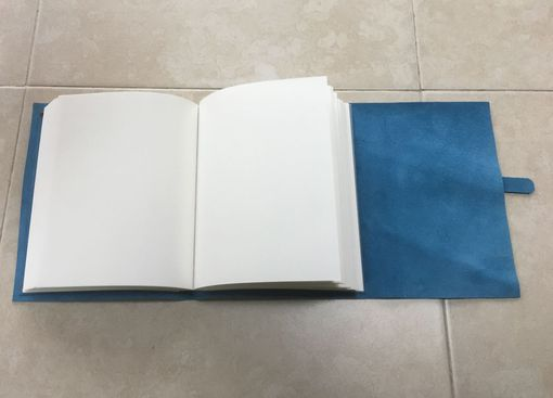 Custom Made A Sturdy Leather Journal, Bound In Soft Blue Suede Cowhide, With Belt And Buckle Closure