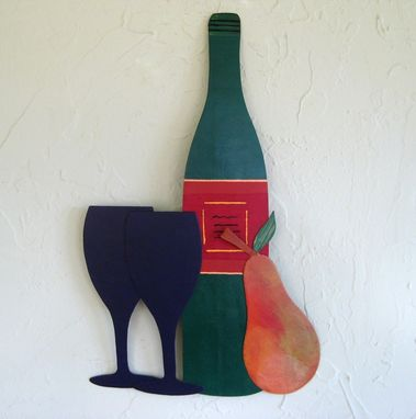Custom Made Handmade Upcycled Metal Wine And Pear Wall Art Sculpture