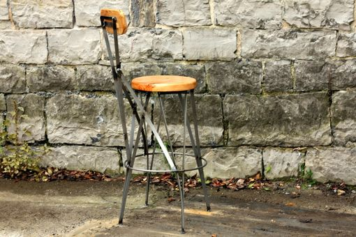 Custom Made Parisian Cafe Styled Reclaimed Wood And Metal Bar Stools