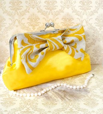 Custom Made Chic Yellow Clutch Purse With Big Damask Bow