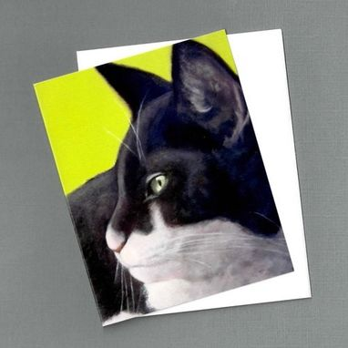 Custom Made Black & White Cat Note Cards - 4 Pack - Green Eyed Cat On Lime - Cat Painting Art Cards