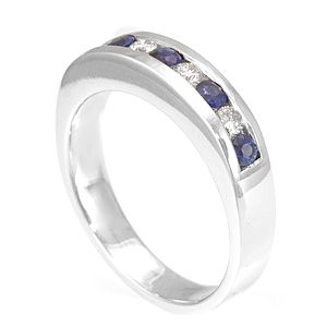 Custom Made Blue Sapphire And Diamond Band In 14k White Gold, Blue Sapphire Band, Diamond Band