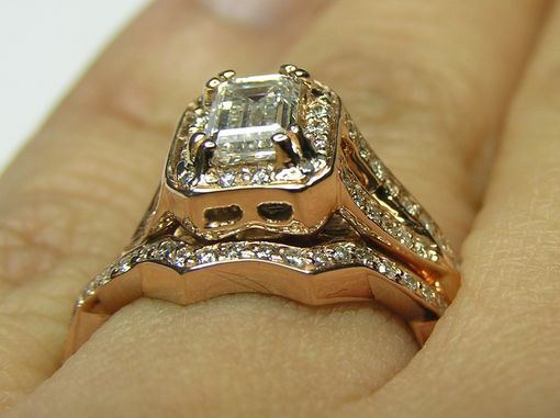 Custom Made Pink Gold Emerald Cut Diamond Twisted Band Engagement Ring & Matching Wedding Band Bridal Set Es359