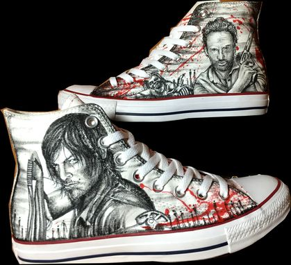 Custom Made The Walking Dead Hand Drawn Shoes!