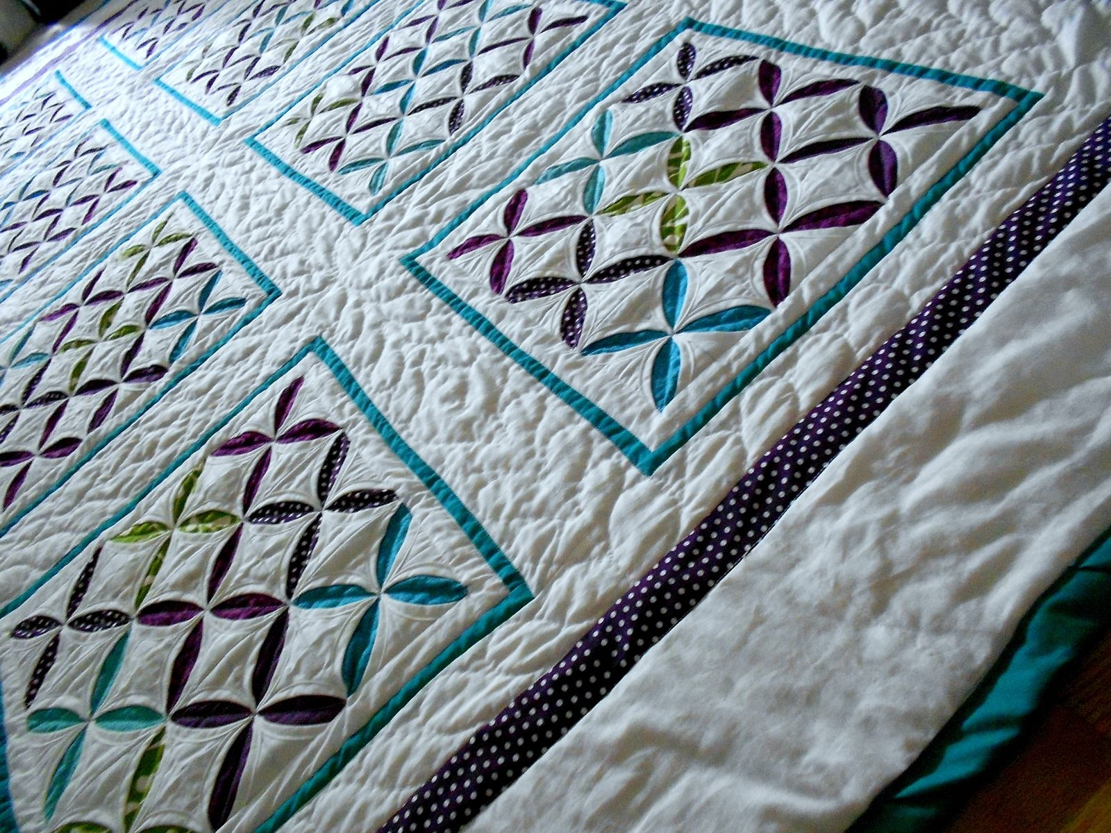 Hand Crafted Reverse Cathedral Windows Quilt by Katie Sews 4 U ... : cathedral window quilting - Adamdwight.com