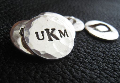 Custom Made Solid Silver Monogrammed Blazer Buttons With Three Block Letter Monogram And Hand Hammered Finish