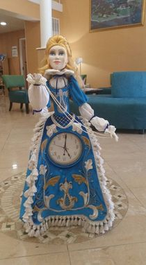 Custom Made Elena, Ooak Art Doll With Quartz Clock 34 Inches