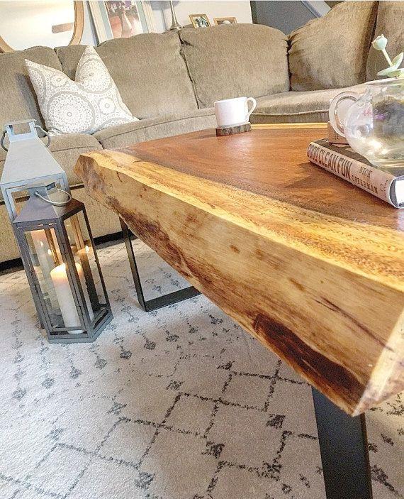 Large Vintage Monkey Pod Wood Slab Coffee Table: Hand Made Live Edge Monkey Pod Coffee Table By BDC Designs