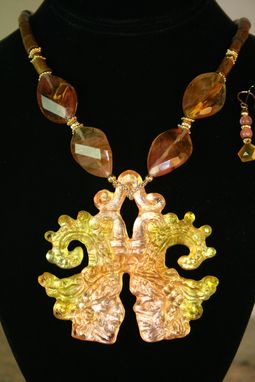 Custom Made 2012: Aztec Emergence - Necklace Cast In Beautiful Golden Apricot Crystal