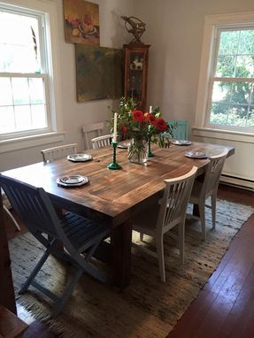 Custom Made Rustic Trestle Dining Table