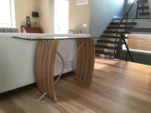Custom Made Modern Console Table, Sofa Table, Hall Table, Entryway Table, Art Deco Style, Wood, Glass, Metal
