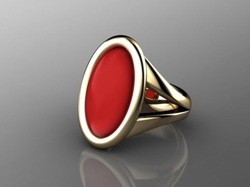Custom Made Elegant Red Coral Ring In 18k Yellow Gold