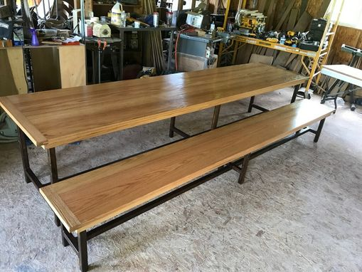 Custom Made Rustic Industrial Table And Bench