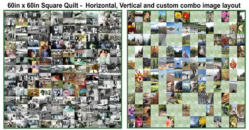 Custom Made 60 X 60 Family Photographs Art Quilt - Horiz. Photos