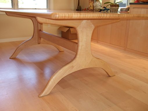 Custom Made Pedestal Dinning Table With Curly Maple Veneer