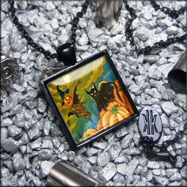 Custom Made Black Cat & Scarecrow Limited Edition Jet Black Necklace 370-Jbspn