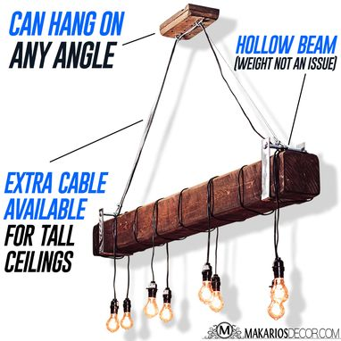 Custom Made Wood Beam Chandelier