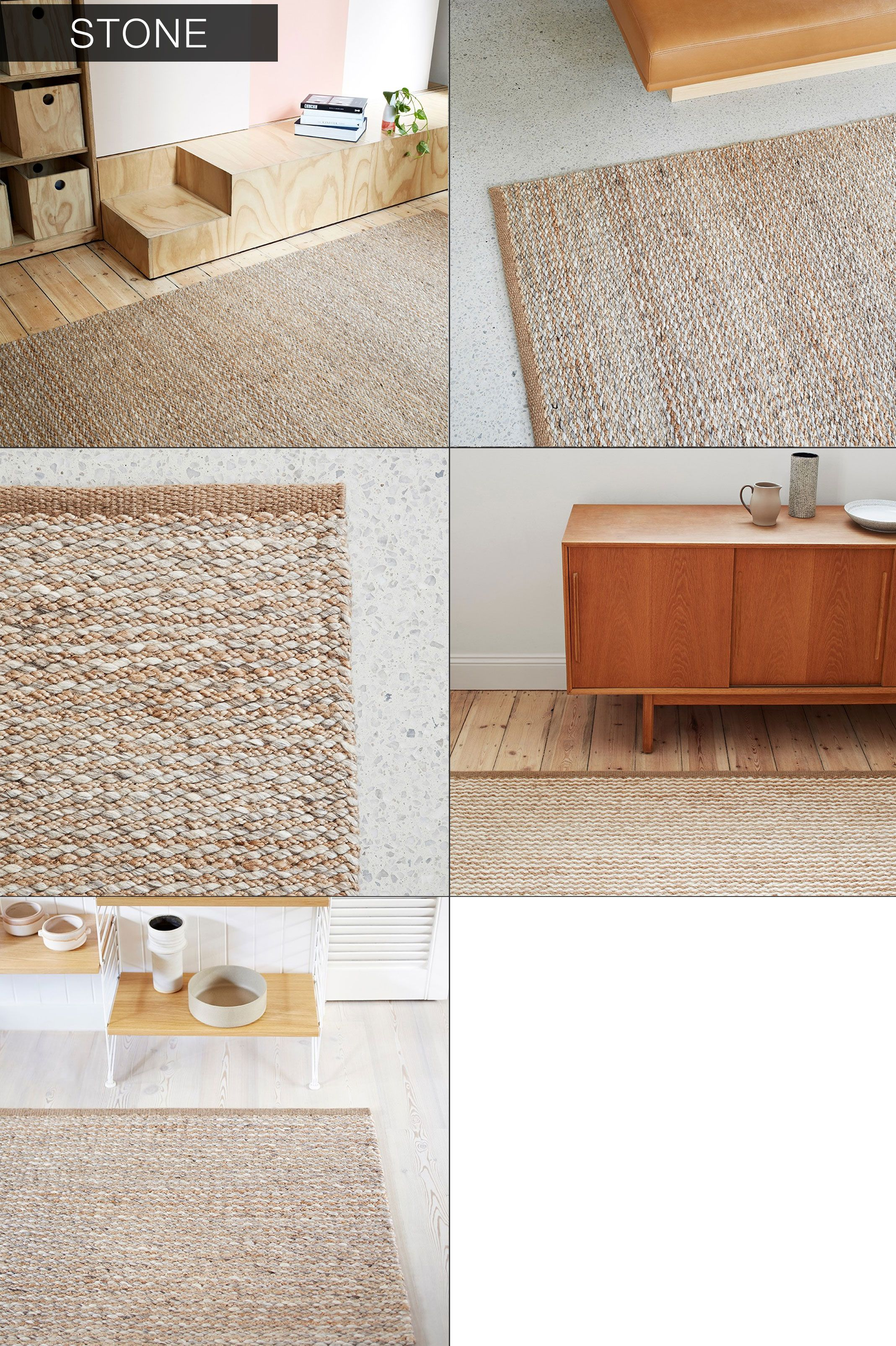 Handmade Flat Geometric Weave Hemp Rug