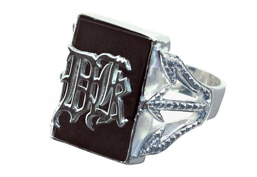 Custom Made Monogram Ring Overlaid  Deluxe