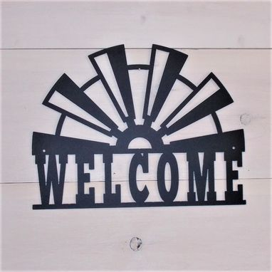 Custom Made Windmill Blades Steel Welcome Sign