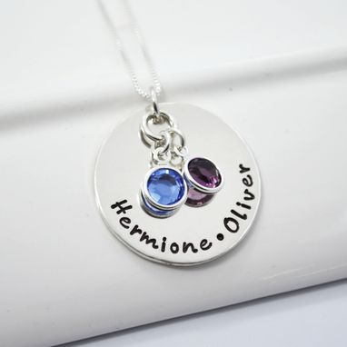 Custom Made Personalized Hand Stamped Sterling Silver Mommy Necklace With Two Children's Names And Birthstones