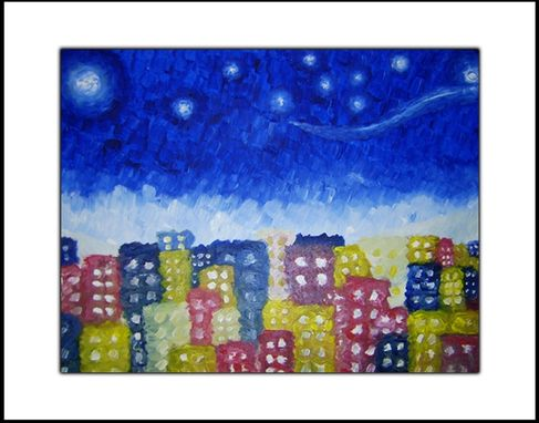 Custom Made Print With Matte Of Original Modern Abstract Stars City Painting - Starry Night Over The City