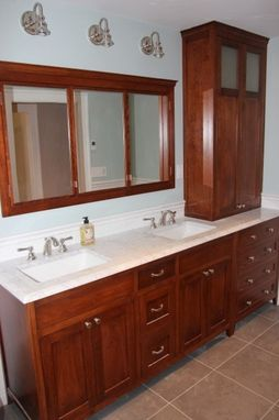 Custom Made Red Birch Double Vanity And Hutch