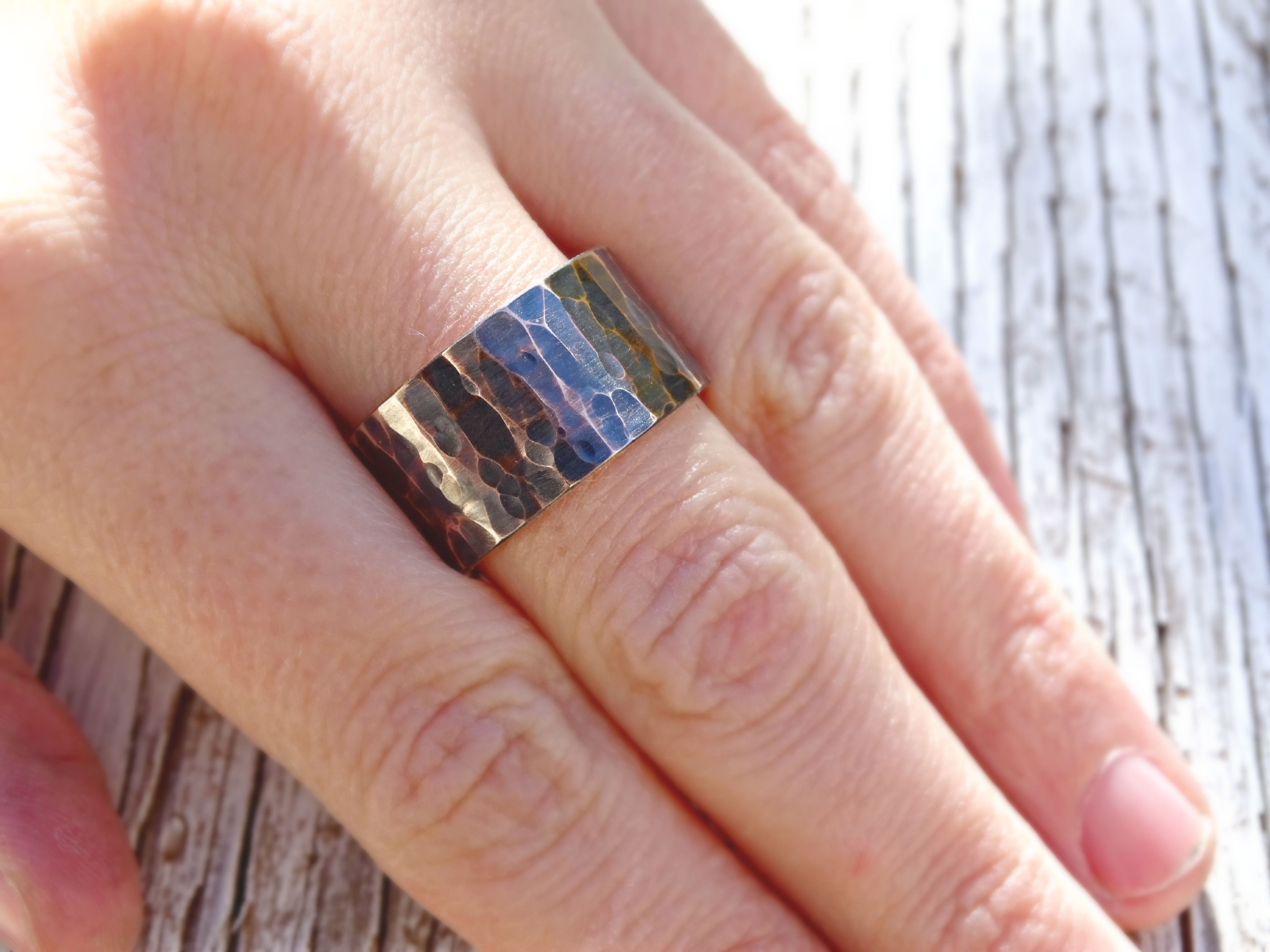 Buy a Hand Crafted Very Wide Mens Bronze Ring, Hammered Bronze Ring ...