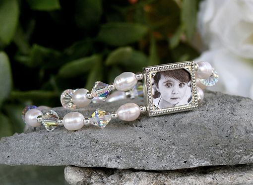 Custom Made Photo Bracelet With Freshwater Pearls And Swarovski Bicone Crystals