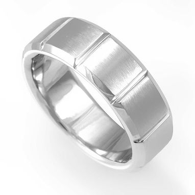 Custom Made Plain But Unique Design Band In 14k White Gold, Wedding Band, Promise Ring