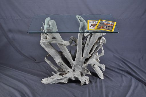 Custom Made Sun Bleached Driftwood And Glass Foyer Table