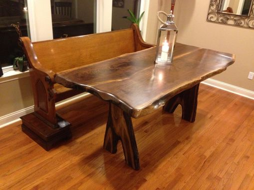 Custom Made 8' Walnut Live-Edge Table With Inverted-Branch Legs