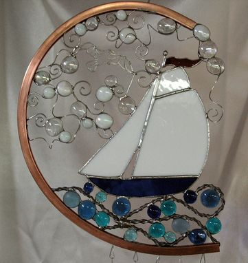 Custom Made Stained Glass Nautical Wind Chime With Glass Nuggets And Solid Copper