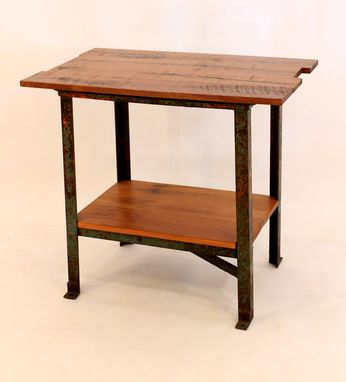 Custom Made Et-39 Black Walnut Top W/Industrial Base & Antique Pine Shelf End Table