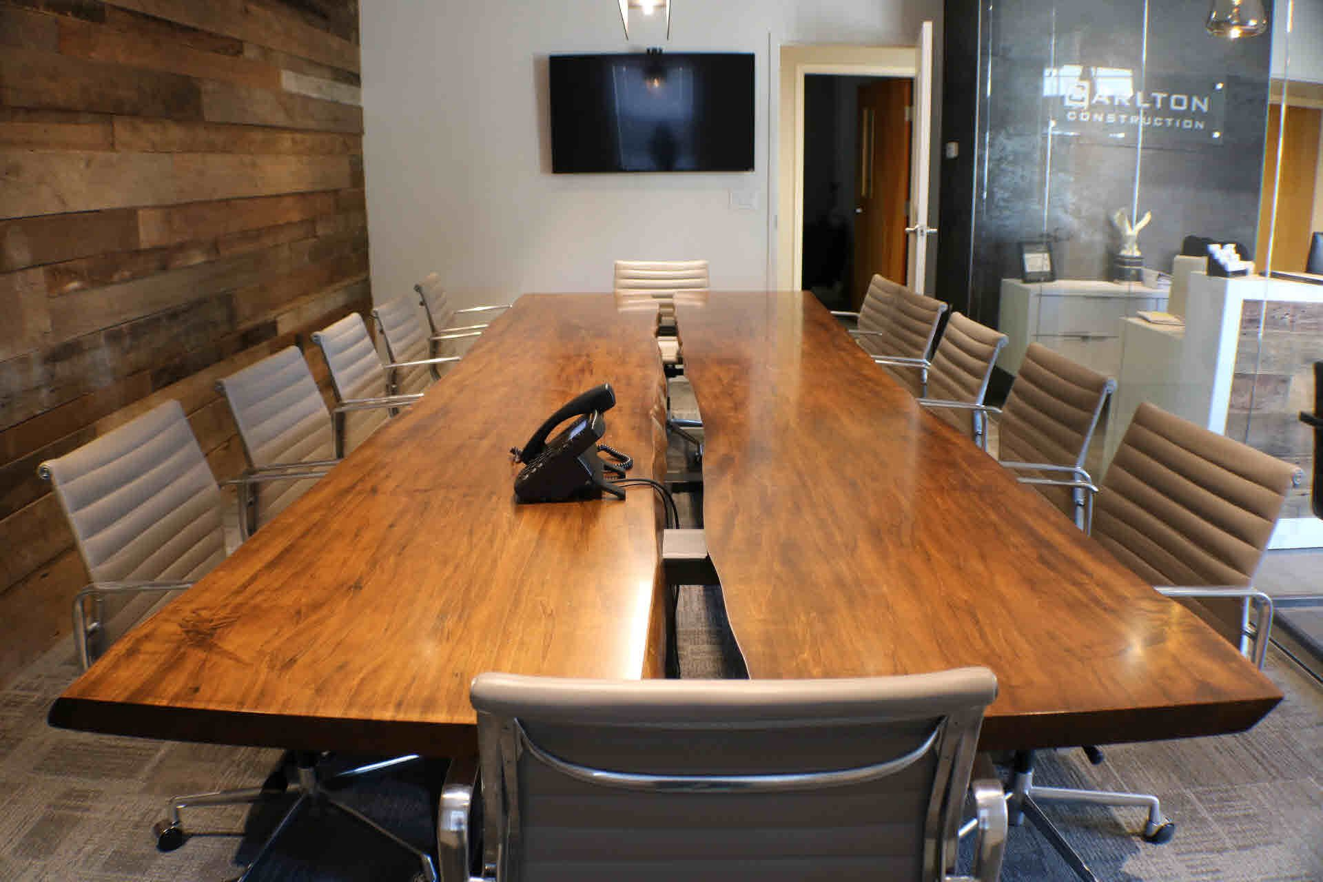 Custom wood slab conference table by greg pilotti for Woodworks design office 8