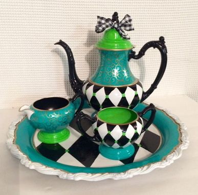 Custom Made Painted Tea Set // Painted Silver Tea Set // Whimsical Painted Tea Set